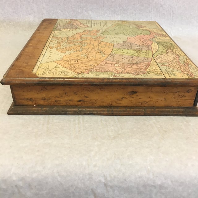 Mid 20th Century Vintage Wooden Drawer With Map For Sale - Image 5 of 9