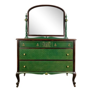 Vintage Emerald Green and Gold 3 Drawer Dresser and Mirror For Sale