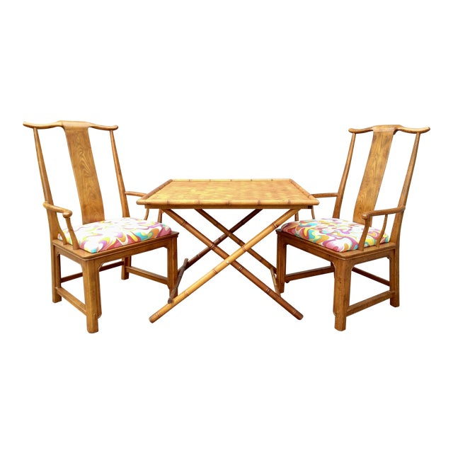 Folding Bamboo Table & Chinoiserie Chairs - Set of 3 For Sale