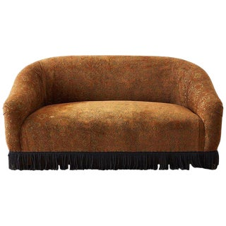 Curved Bohemian Style Settee With Bullion Fringe For Sale