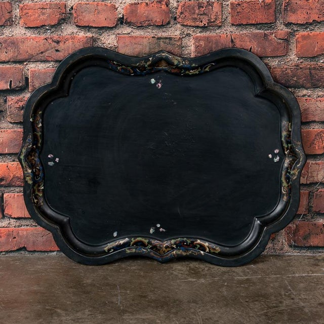 Late 19th Century 19th Century Folk Art Swedish Small Black Painted Tray Table For Sale - Image 5 of 9