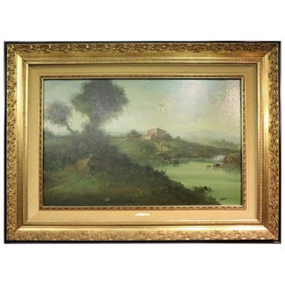 20th Century Italian Oil Painting on Canvas Landscape With Golden Frame For Sale