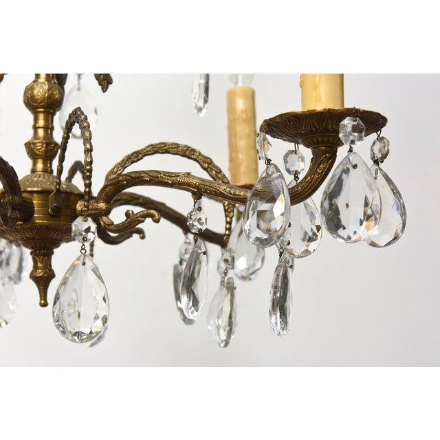 Five light spanish brass and crystal chandelier image 4 of 5