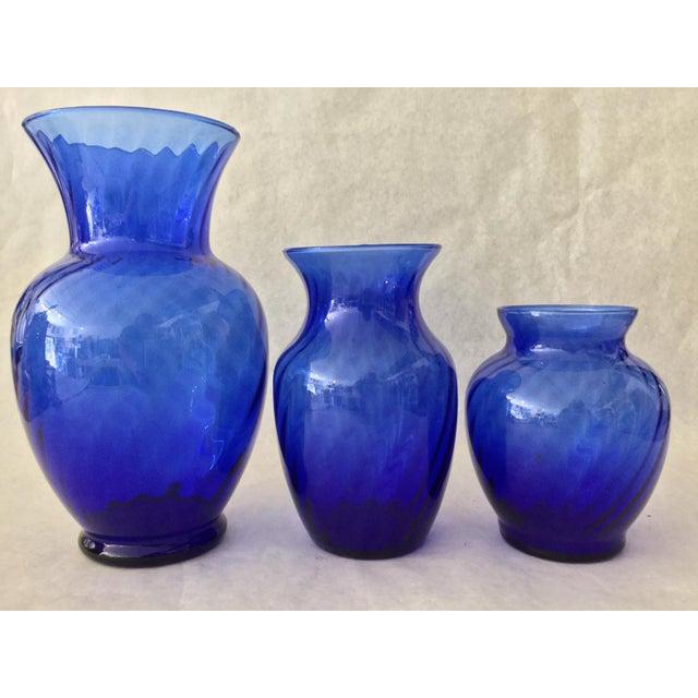 Vintage Anchor Hocking Cobalt Optic Glass Vases - Set of 3 For Sale - Image 9 of 9