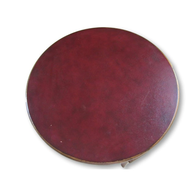Round Red & Gold Painted End Table - Image 2 of 3