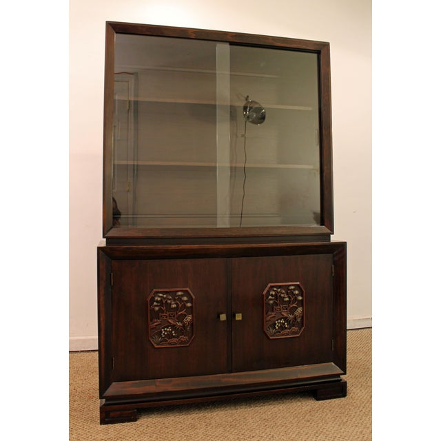 Asian James Mont Mid-Century Asian Ming-Style Mahogany Display/China Cabinet For Sale - Image 3 of 11