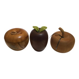 Tea Caddies Specimen Wood Apple Motif Boxes - Set of 3 For Sale