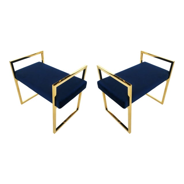 Pair of Polished Brass Benches in the Style of Charles Hollis Jones For Sale