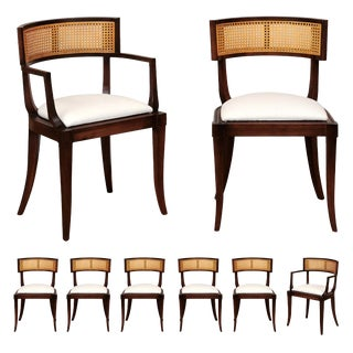 Exquisite Set of Eight 8 Klismos Cane Dining Chairs by Baker, Circa 1958 For Sale