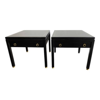 American of Martinsville MCM Ebony Side Tables With Brass Inlays and Pulls For Sale