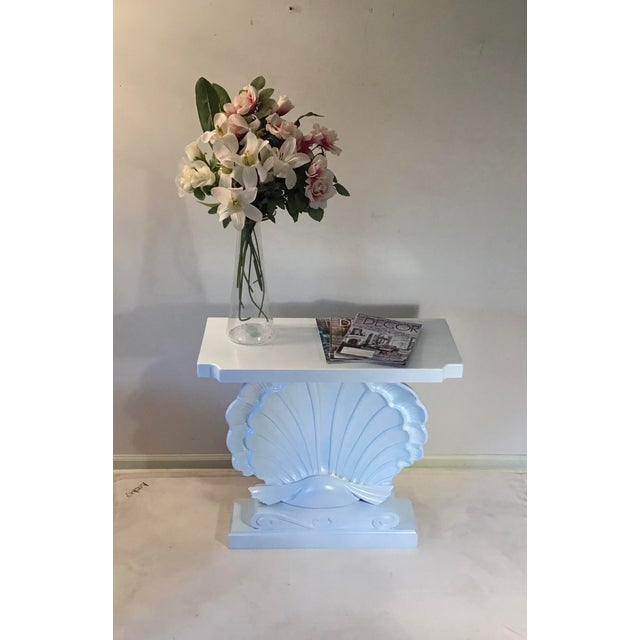 Palm Beach Regency 1950s Edward Wormley Dunbar Style Carved Wood Shell Console Table White Blue Pearl For Sale - Image 12 of 13