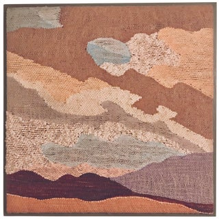1980's Vintage Contemporary Abstract Landscape Fiber Art Textile For Sale