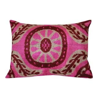 """""""Rosa"""" Pink Ikat Silk Velvet Pillow"""