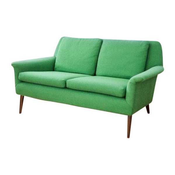 Mid-Century Folke Ohlsson Green Loveseat Sofa For Sale