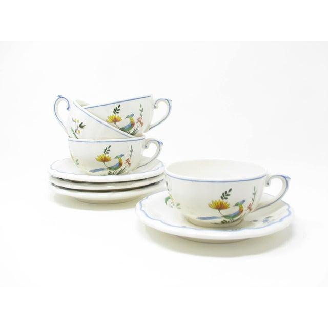 Vintage Oiseau De Paradis by Faiencerie De Gien Cups & Saucers - 4 Sets For Sale - Image 13 of 13