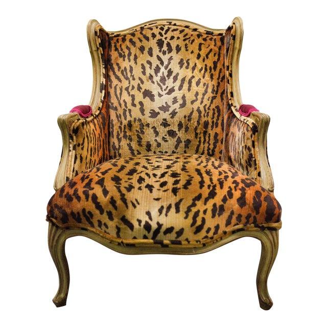 Animal Print Wing Chair Chairish