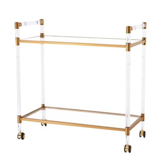 Charles Hollis Jones Style Lucite and Brass Bar Cart For Sale