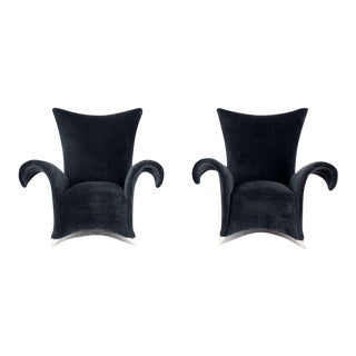 Pair of Mid-Century Modern High Back, Oversize Wingback Chairs For Sale