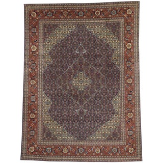 Vintage Persian Traditional Style Mahi Fish Design Tabriz Area Rug - 9′6″ × 12′10″ For Sale