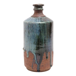 Mid-Century Modern Glazed Stoneware Art Pottery Vase For Sale