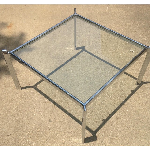 Mid Century Modern Heavy Chrome & Glass Table - Image 3 of 4