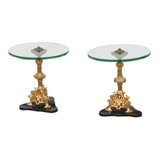 Regency Style Glass Top End Tables - a Pair For Sale