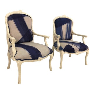 Italian Graphic Faux Bois Arm Chairs - a Pair For Sale