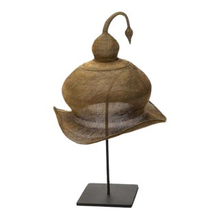 Primitive Brass Handwoven Ceremonial Hat on Stand For Sale