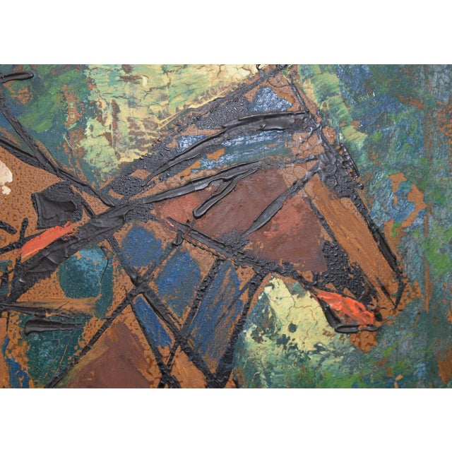 """Vintage Impasto """"Polo Match"""" Abstract Oil Painting C.1970s For Sale - Image 9 of 11"""