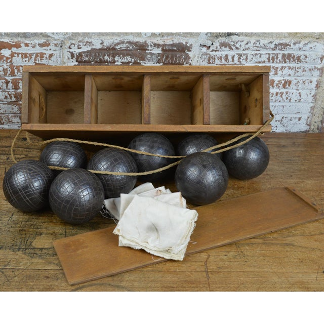 Cottage Antique French Iron Boules Set With Case For Sale - Image 3 of 13