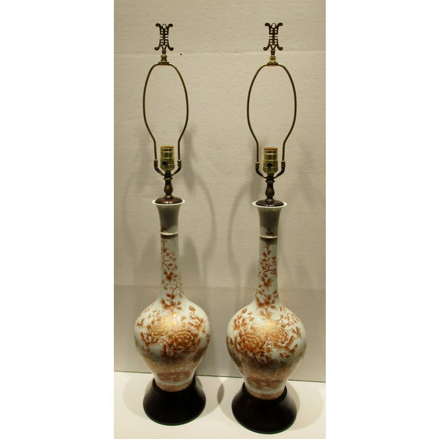 Large 1950s Japanese Hand Painted Porcelain Vases Mounted as Lamps - a Pair For Sale - Image 11 of 11