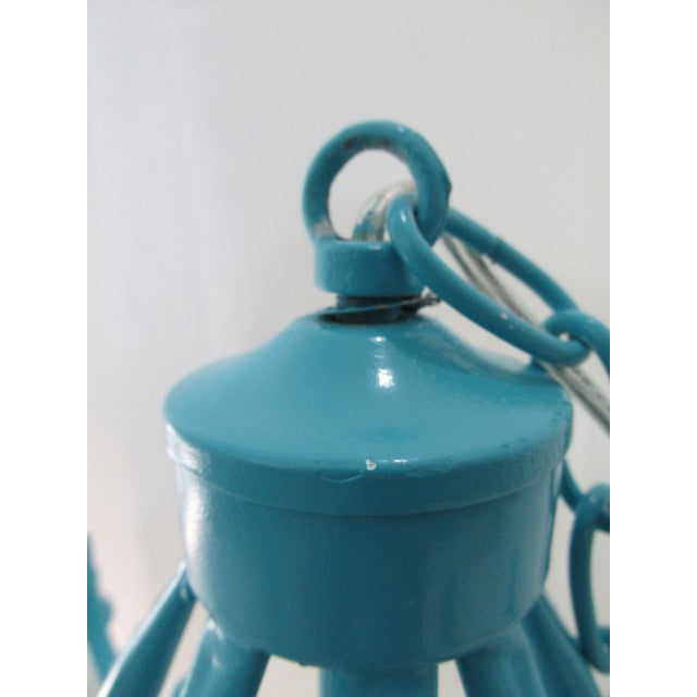 Turquoise Faux Bamboo Pagoda Chandelier - Image 4 of 7