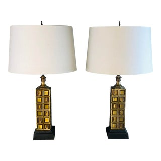 1970s Laurel Lamp Co Brass Chess Table Lamps, Pair For Sale