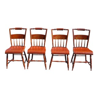 Antique Set of 4 Early 19th C Plank Bottom Eagle Hitchcock Style Dining Chairs For Sale