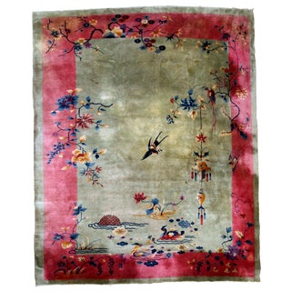 1920s, Handmade Antique Art Deco Chinese Rug 8.10' X 11.4' For Sale