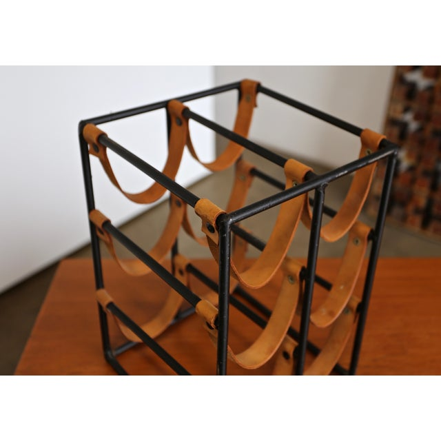 Mid-Century Modern 1955 Arthur Umanoff Iron and Leather Straps Wine Rack For Sale - Image 3 of 9