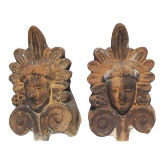 Old Akrokeramo Hermes and Athena Greek Tiles - a Pair For Sale