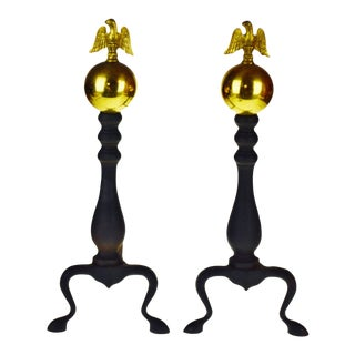 Vintage Brass Ball and Eagle Andirons - a Pair For Sale