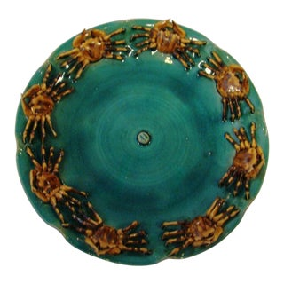 Vintage Crab Motif Majolica Plate For Sale