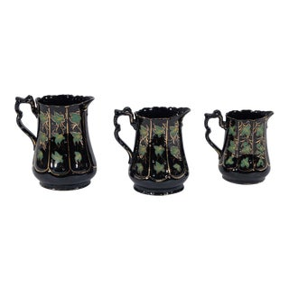 Three 18th Century Jackfield Pitchers with Hand-Painted Ivy and Gilt Decoration For Sale