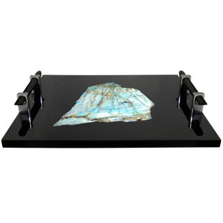 Polished Black Resin and Labradorite Tray by Michael Laut For Sale