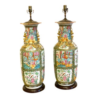 Large Pair of 19th Century Rose Canton/Medallion Vases, Now as Lamps For Sale