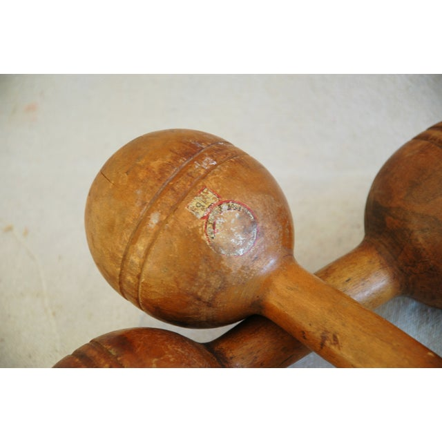 Lodge 1920s Maple Wood Exercise Dumbbells - Pair For Sale - Image 3 of 4