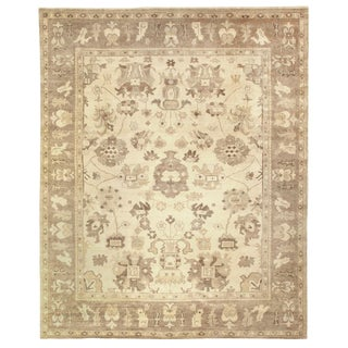 Oushak Ivory/Gray/Brown Hand knotted Wool Area Rug - 6'x9' For Sale