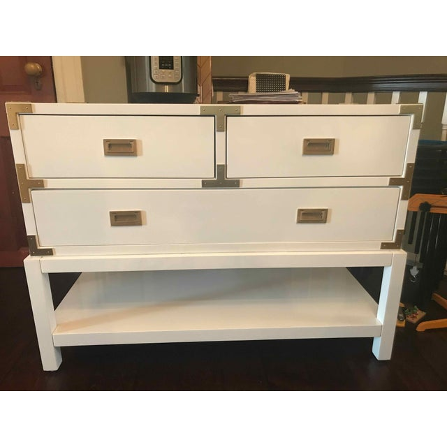 2010s Modern Bungalow 5 Tansu Campaign White Lacquered Console For Sale - Image 5 of 6