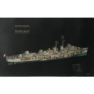 1954 Original French Poster, Escort Destroyer Surcouf For Sale