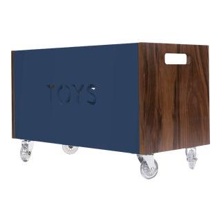 Nico & Yeye Toy Box Chest on Casters Walnut Deep Blue For Sale
