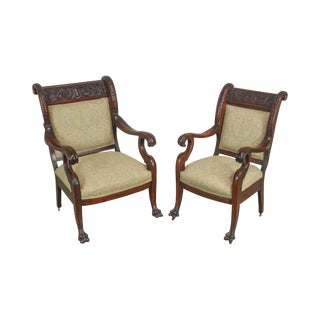 Victorian Renaissance Carved Mahogany Pair of His & Hers Arm Chairs For Sale