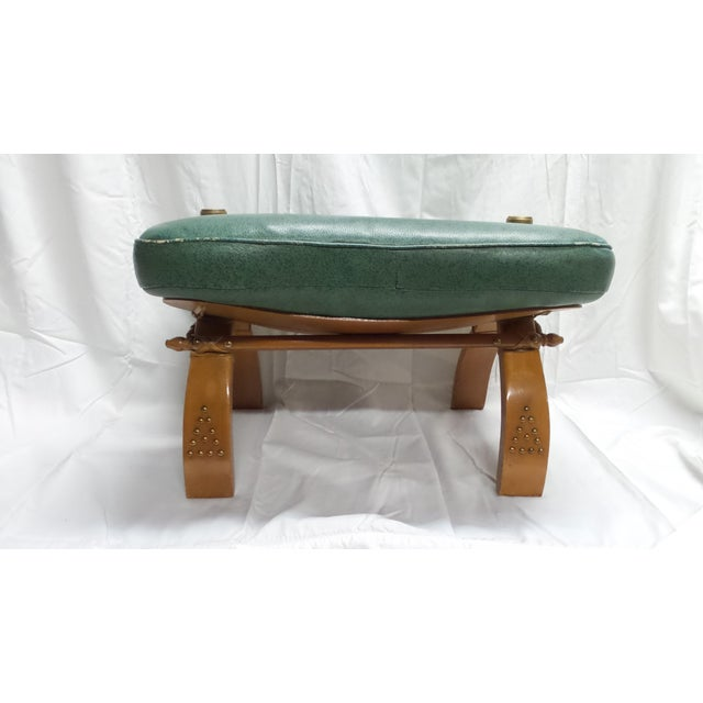 Vintage Camel Saddle Stool with Teal Cushion For Sale In Seattle - Image 6 of 11