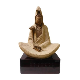 Handmade Clay Deep Meditation Kwan Yin Statue For Sale